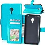 Wenlon Handy PU Hülle für Meizu MX4 Pro, Hochwertige Business Kunstleder Flip Wallet Handyhülle mit Card Slot Funktion, Bracket Funktion - Blau