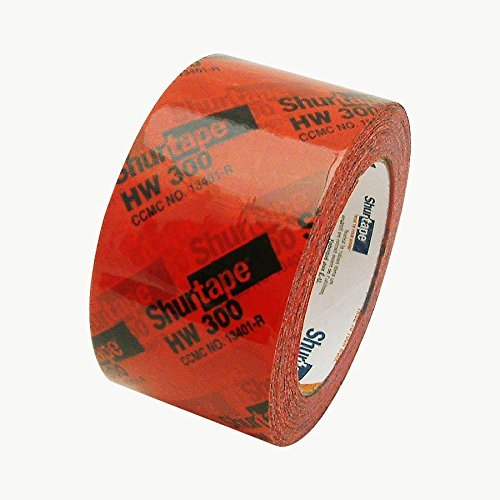 "AGN 134338 Shurtape HW-300 Housewrap Sheathing Tape: 2-1/2"" x 60 yd, Red/Black (Оne Расk) (Оne Расk)"