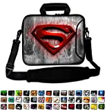 17'- 17.3' inch Tablet Laptop Notebook MacBook Sleeve Case Bag with Handle and Strap Pouch Protective Skin Cover by Funky Planet Bags/Cases (17 hs red Superman)