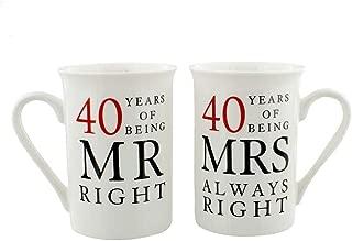 Happy Homewares Ivory 40th Anniversary Mr Right & Mrs Always Right Mug Gift Set