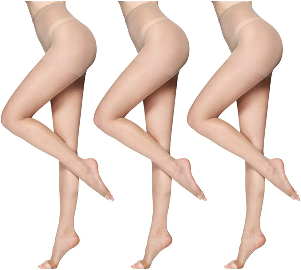 3-pack women thin pantyhose Without Toes Ultra Sheer Control Top nylon tights