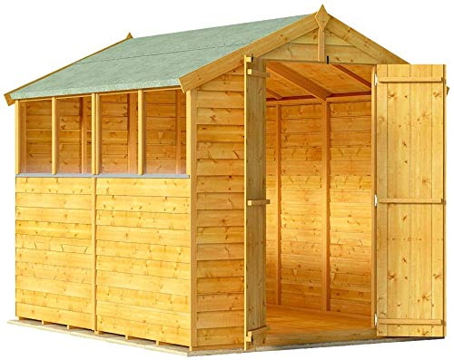 BillyOh Keeper Overlap Garden Shed with Floor | Wooden Garden Storage Shed with Apex Roof & Felt Included | Windowed or Windowless- Multiple Sizes (8x6 Windowed)