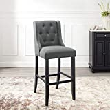 Modway Baronet Tufted Button Fabric Bar Stool in Gray, 1