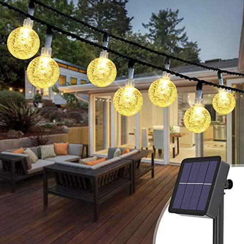 A-Generic 2 outdoor solar wreath, 3M 30 LED string, crystal ball, 8 model waterproof decoration outdoor solar light, suitable for gardens, fence, wedding, terrace, Christmas-30 hot white led