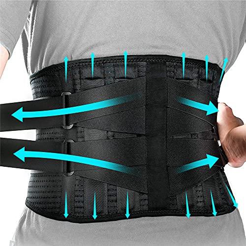 Faja Lumbar para Espalda, Cinturon Lumbar con 4 Barras de Soporte + 2 Barras de Resorte, Correas de Ajuste Dobles, para Fijar la Columna Lumbar y Aliviar el Dolor Lumbar