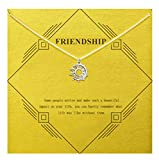 Gray Camel Friendship Clover Necklace Unicorn Good Luck Elephant Necklace with Message Card Gift Card for Women Girl (Sliver Big Moon and Sun)