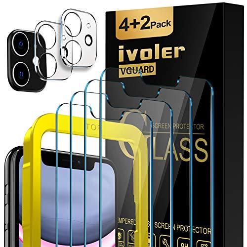 iVoler [4 Pezzi Pellicola Vetro Temperato per iPhone (6,1 Pollici) 11   XR [2 Pezzi] Pellicola Fotocamera per 11, [9H Hardness] Anti-Scratch [con Cornice di Installazione]