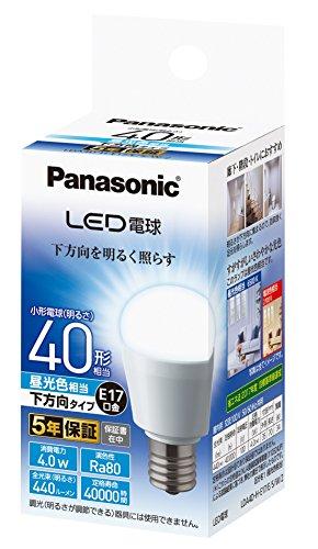 パナソニック LED電球 口金直径17mm 電球40W形相当 昼光色相当(4.0W) 小型電球・下方向タイプ 1個入 密閉形器具対応 LDA4DHE17ESW2