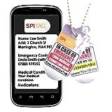 Collar con etiqueta de alerta médica de emergencia para perro, con texto en inglés'Aware ICE SOS Talisman'