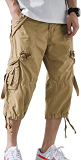 AOYOG Mens Cargo Shorts 3/4 Relaxed Fit Below Knee Capri Cargo Short Cotton