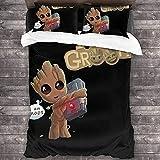 cuicui Juego de ropa de cama Groot Yoda, funda nórdica de alta calidad, regalo para niños, adolescentes, niños y niñas, amantes del cine (A03, 220 x 240 cm + 80 x 80 cm x 2)