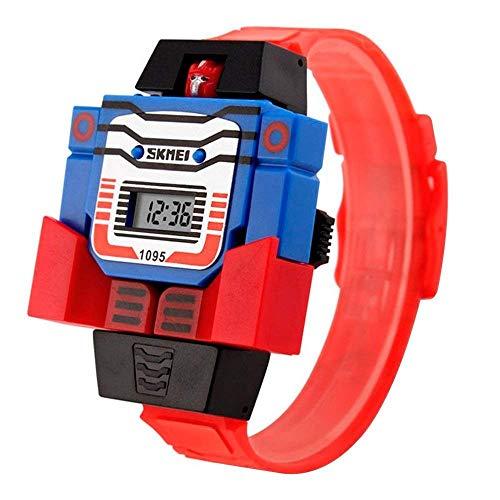 Reloj Digital Para Niño Figura de Robot Carátula Desprendible se transforma en Robot Extensible de Caucho Azul (Rojo)