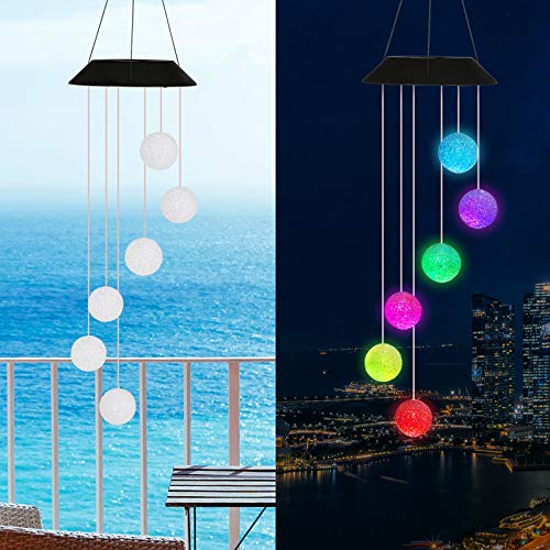 Lpraer LED Solar Crystal Ball Wind Chimes Hanging Mobile Color Changing Waterproof Outdoor Decorative Light for Outsides Patio Yard Garden Balcony