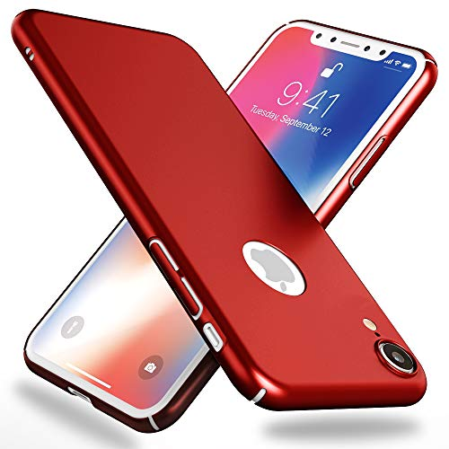 NALIA Funda Compatible con iPhone XR, Hard-Case Protectora Ultra-Fina Bumper Carcasa Dura en Look de Metal, Ligera Cubierta Telefono Movil Cobertura Premium Smart-Phone Cover, Color:Rojo