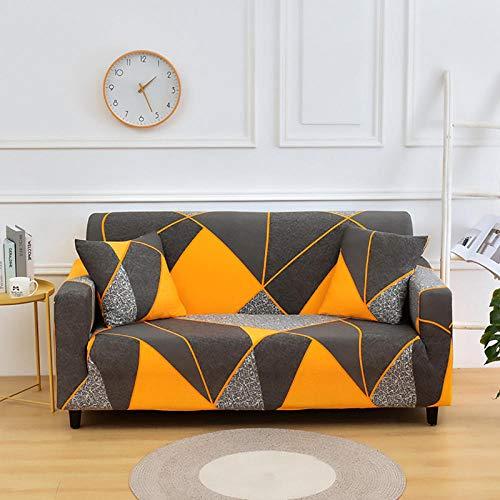 Nannan Funda de sofá con impresión elástica Fundas de sofá con Todo Incluido para Sala de Estar Funda de sofá con Forma de L Funda de sillón 1/2/3/4 Asiento-Naranja_145x180cm 2 plazas