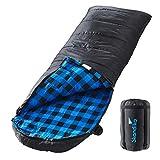 skandika Dundee Decken-Schlafsack, Luxus-Qualität, Baumwolle/Flanell Innenfutter, bis -20°C, 220x80 cm, koppelbar (Schwarz RV Links)
