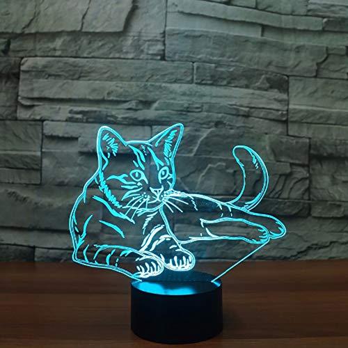 7 bunte katze 3d tischlampe acryl led tier nachtlicht usb touch button kinder nette nachtlampe schlafzimmer beleuchtung kinder geschenke