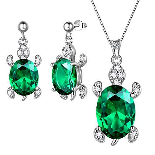 Aurora Tears Parure di collana e orecchini a forma di tartaruga, in argento Sterling 925, con pietra birthstone Animals regalo per donne e ragazze e Orecchini., colore: verde, cod. DE0178G-EU