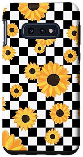 Galaxy S10e Black White Checkerboard Sunflower Cute Checkered Girl Gift Case