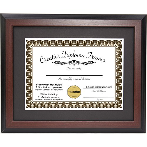 Creative Picture Frames 11x14-inch Mahogany Diploma Frame with Black Mat to Hold 8.5