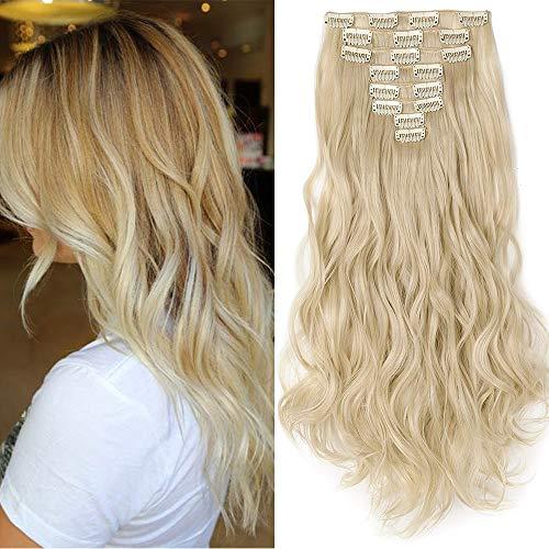 TESS Clip in Extensions wie Echthaar Haarteil günstig Haarverlängerung 8 Tressen 18 Clips Haarteil Gewellt 24