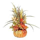 ZCFGUOI Calabaza artificial grande con flores y bayas, calabaza artificial decoración girasol hojas de otoño bayas para Halloween, Acción de Gracias, otoño decoración