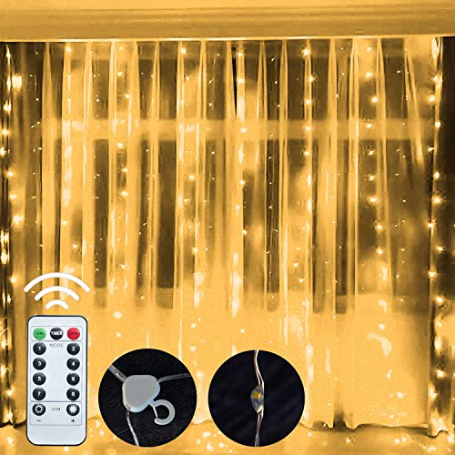 Funpeny Window Curtain String Lights, 300 LED 8 Lighting Modes Fairy Lights USB Powered, Waterproof Lights for Christmas Bedroom Party Wedding Home Garden Wall Decorations, Warm White