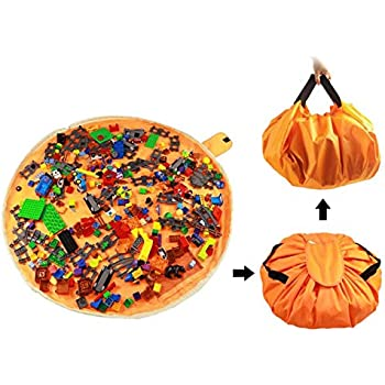Kinder Spieldecke Aufraeumsack f/ür Lego und Sack Spielzeug Aufbewahrung Teppich Beutel von Kordelzug mit Kappe wie Reisetasche als Geschenk 2St=1Orange Gro/ß 1 Gelber Mini