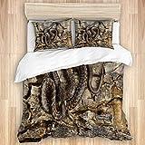Ttrsudddsyy Bettbezug-Sets Bettlaken,Aalen auf Holzstumpf Schlangenholz, 3-teiliges Bettwäscheset mit 2 Kissenbezügen Super King Size 240x260cm (94x102 Zoll)