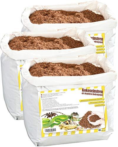 Humusziegel - 60L natürliches Bodensubstrat - instant Kokoserde trocken - 3 x 20 L Sack