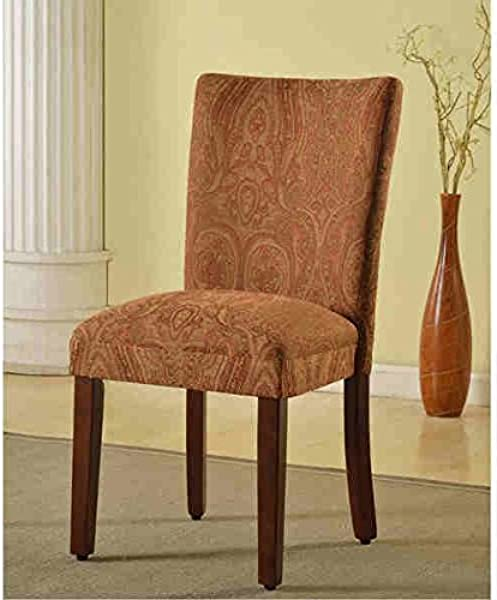 Homepop Classic Parson Red Gold Damask Durable Fabric With Solid Frame And Legs Dining Chair 19 Inches Wide X 23 5 Inches Deep X 38 Inches Height