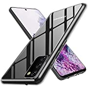ANEWSIR Glas Hülle für Samsung Galaxy S20 Hülle, Samsung S20 Hülle Kratzfeste 9H Schutzfolie Rückseite - Transparent Hülle Case TPU Rahmen und weichem Bumper, Schutzhülle Case Cover für Galaxy S20.