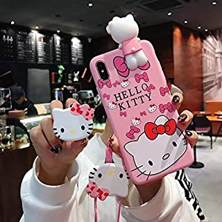 HOT Luxury 3D Cute Cartoon Hello Kitty cat Holder Stand Pink Silicone Phone case for iPhone 6 S 7 8 Plus X XR XS MAX Back Coque (2, for iPhone 11 Pro)