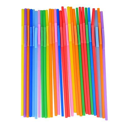 FAMOORE Einweg Plastik Strohhalme,100/300 Knickbare Trinkhalme BPA-Free,Flexibel, Kunststoff, Mehrfarbig, Biegsam,für Party, Strand, Familien (Multicolor1)