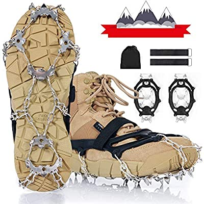 IPOW Crampons 21 Spikes Ice Cleats Grips for Shoes Boots Ice Spikes Strong Band Double Safe Strap Heavy Duty Snow Cleats Spikes Shoe Grip Traction Cleats for Men Women Walking Hiking on Snow Ice