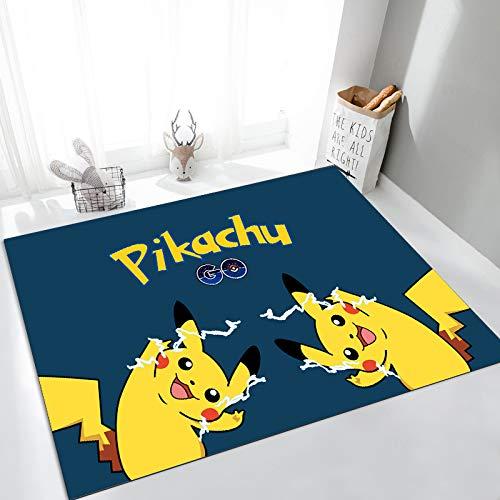 Yugy Alfombra animación para niños Creativo Azul Oscuro Amarillo Pikachu sofá de la Sala de Estar Alfombra Grande habitación de los niños Alfombra del Piso del Dormitorio 200 * 300 cm