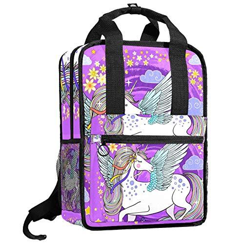 Herren-Wanderrucksack, Teenager, Camping, Tagesrucksack, Jungen, Studenten, Büchertasche, Mädchen, Mehrzweck-Handtasche, Einhorn mit Flügeln