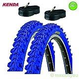 2 x Kenda MTB Fahrradreifen Decke + 2 Schläuche - 26 x 1.95 - 50-559 - 01022614K (blau)