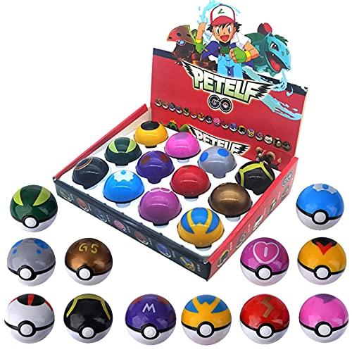 12 Uds Pokeball + 12 Muñeco De Figura De Pokemon con Juguetes Adhesivos Regalo De Cumpleaños para Niños Coleccionables En Caja