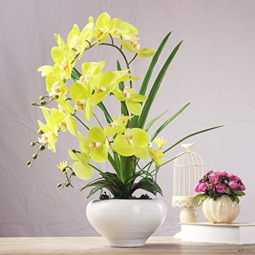Real Touch Hoge Simulatie Phalaenopsis Kunstmatige Orchidee Bloemstukken Latex Orchid Sierteelt Pot Cultuur Suit (Color : Green)