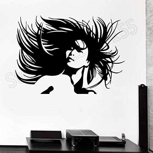 yaonuli Schöne Frau Porträt verrückte Friseur Wandaufkleber Vinyl Friseur Shop Dekoration 30X45cm