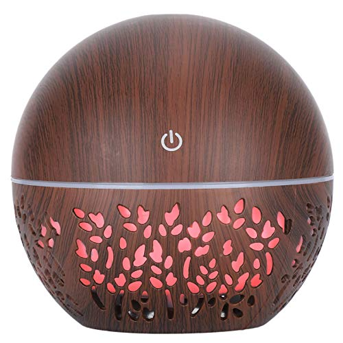 Yinhing 7 Color Light Air Diffuser Humidifier, 130ml Humidifier Aroma Air Diffuser Hollow Out USB Low Noise Humidifier (Dark Wooden Grain)