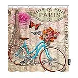 None brand Postkarte Duschvorhang Paris Frankreich Eiffelturm Fahrrad Blume Retro Romantische Rosen Dekorative Wasserdusche Dusche-W90xH180 cm.