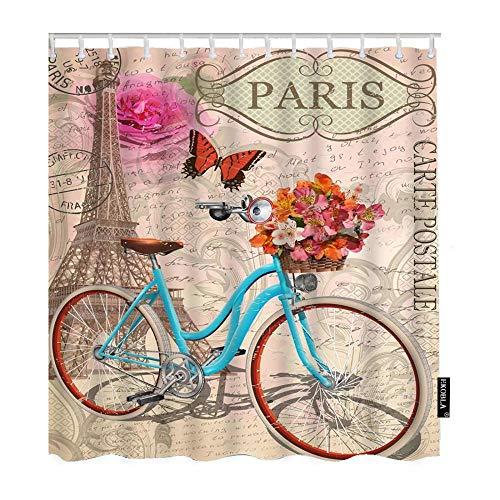 None brand Postkarte Duschvorhang Paris Frankreich Eiffelturm Fahrrad Blume Retro Romantische Rosen Dekorative Wasserdusche Dusche-W180xH180cm