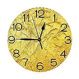 ゴールド 壁掛け時計 おしゃれ デジタル ミュート 円形 掛け時計 置き時計 目覚まし時計 インテリア 装飾