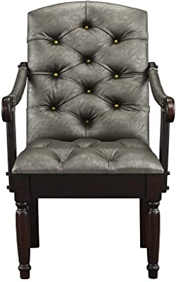 Victorian Tufted Faux Leather Accent Chair - Armchair for Home, Kitchen and Living Room, Traditional Accent Chairs with Arms & Wooden Legs (Grey)…