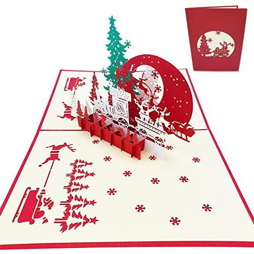 Tarjeta de felicitación navideña 3D - Árbol de Navidad, Trineo, Tren Navideño, Pista de hielo - Postal 3D de Navidad