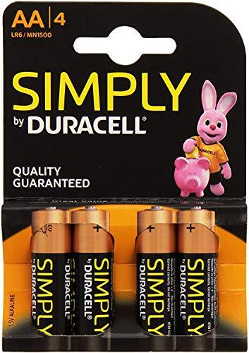 Duracell MN1500B4S Pack de 4 Piles AA Noir/Copper