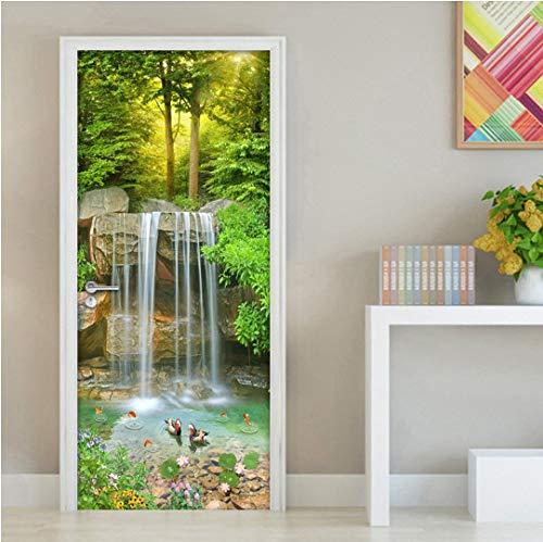 Door stickers door decals, Waterfall 3D Landscape Door Sticker Wall Painting Waterproof Self-adhesive Sticker Living Room Bedroom Door Mural Wallpaper