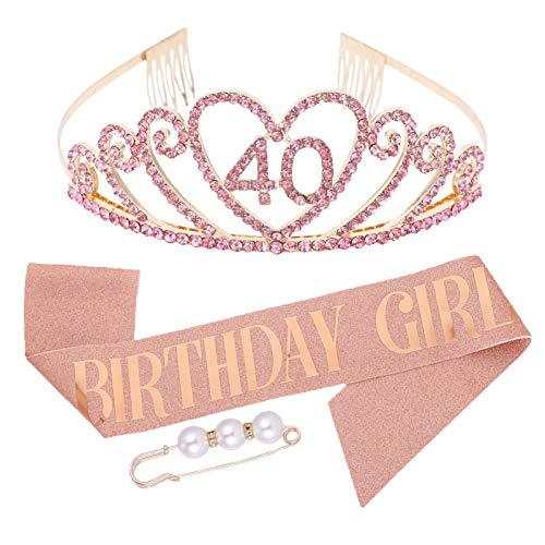 Veraing Roségold 40. Geburtstags-Krone + Schärpe, Geburtstags Tiara Kristall Krone für Frauen Birthday Crown Prinzessin Haar-Zusätze für Frauen Party Accessoires (Krone + Schärpe + Haarnadel)
